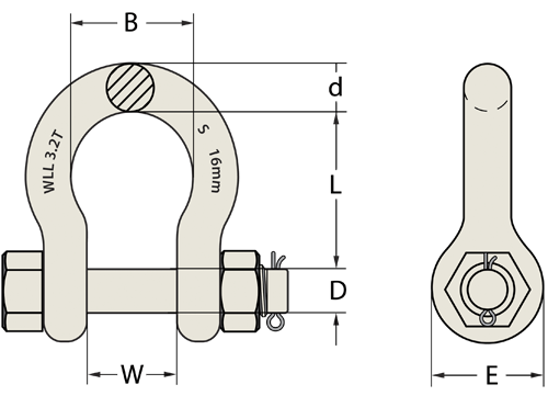 Grade 'S' Shackle, Bow Type, Gold Safety Pin-1